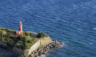lighthouse in gulf of naples
