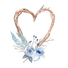 Watercolor heart with flowers, feathers, branches