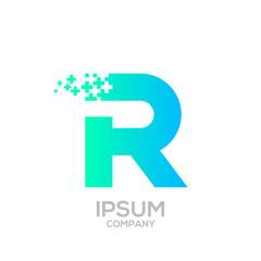 Letter R Pixel logo, Plus sign logo, Medical healthcare hospital symbol, Technology and digital logotype