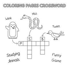 Funny Animals Coloring Book Crossword