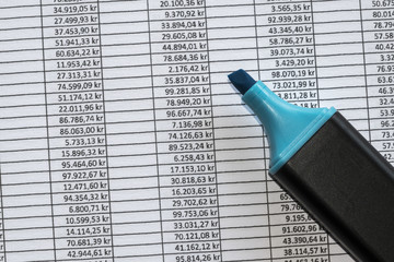 Marker over excel spreadsheet showing accounting data.