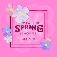 Spring Sale Background with Colorful Flowers for your design.