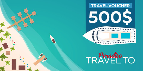 Travel voucher. Travel to Paradise. Vector flat illustration.