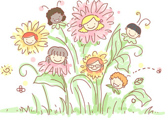Stickman Kids Plants Flowers