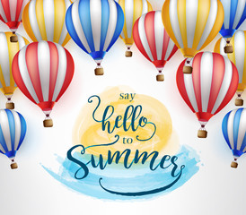 Flying Hot Air Balloon with Say Hello to Summer Message on Orange and Blue Water Color Paint Vector Illustration