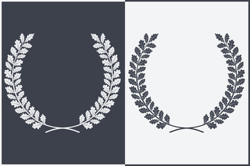 Oak Wreath Vector Silhouette. Leaves and Branches Round Frames