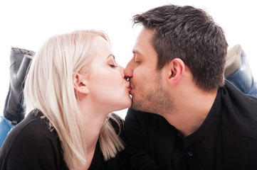 Close-up of cute young couple kissing