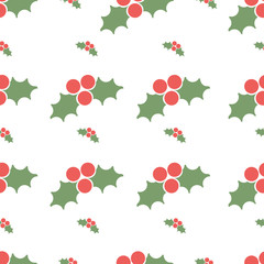 Seamless pattern with holly berries.