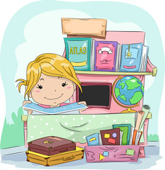 Kid Girl Geography Stand