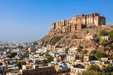 Impressive Mehrangarh Fort with blue sky, landmark of Jodhpur, Rajasthan, India