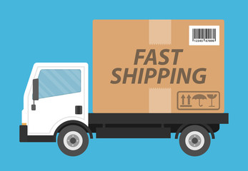 Fast shipping concept. Delivery truck with big cardboard box as a container. Flat design