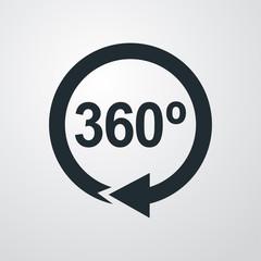 Icono plano 360 con flecha circular en fondo degradado