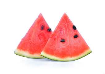 watermelon slice closeup on white background