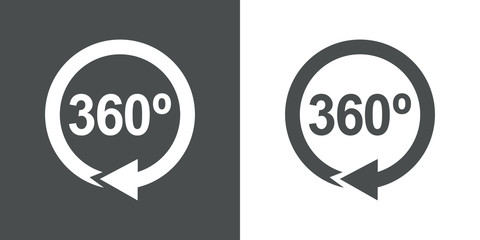 Icono plano 360 con flecha circular gris y blanco