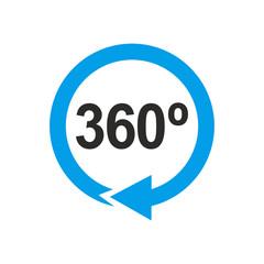 Icono plano 360 gris con flecha circular azul en fondo blanco
