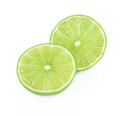 Fresh ripe limes. Isolated on white background.
