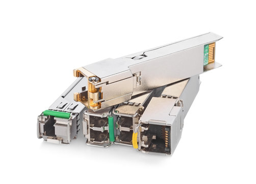 Optical gigabit sfp module for network switch isolated on the white background
