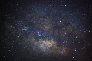 Close up milky way galaxy. Long exposure photograph.With grain