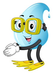 Mascot Water Drop Swimmer