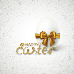 Happy Easter Lettering with Realistic 3D egg