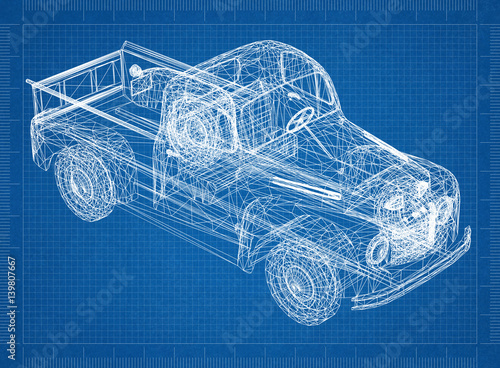 Car blueprint 3d perspective stock photo and royalty free images car blueprint 3d perspective malvernweather Image collections