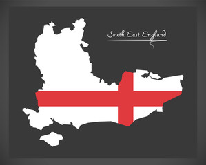 South East England map with flag of England illustration