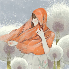 Girl and Dandelion. Video Game's Digital CG Artwork, Concept Illustration, Realistic Cartoon Style Background