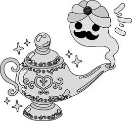 Illustration of the pretty magic lamp