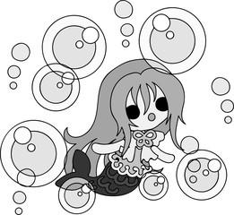 Illustration of a pretty mermaid