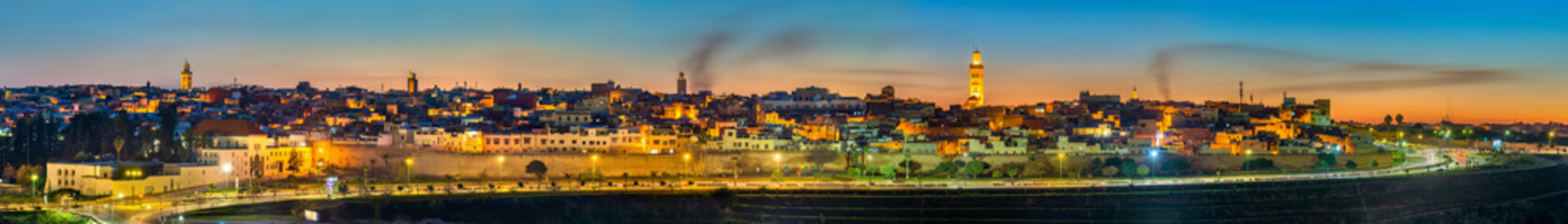 Panorama of Meknes in the evening - Morocco
