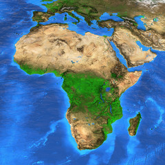 Wall Mural - High resolution world map focused on Africa