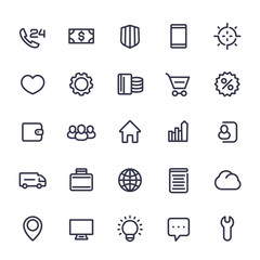 icons for web in line style isolated on white, 25 vector pictograms set