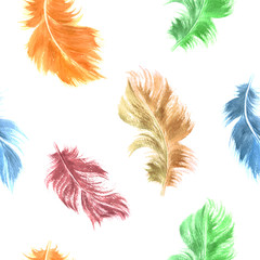 Vector watercolor feather seamless pattern in bright colors