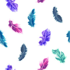 Vector watercolor feather seamless pattern in blue, and purple