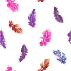 Vector feather seamless pattern in pink and purple colors