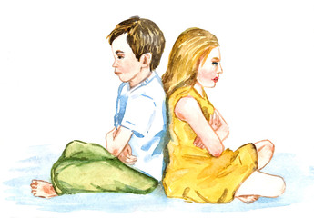 Boy and girl offended sit back to back, misunderstanding, isolated hand painted watercolor illustration