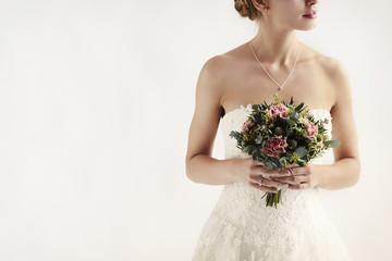 Flower girl on white background, studio