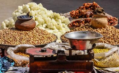 Simple market stall with vintage scales, Sadar Bazaar, Jodhpur, India