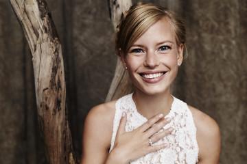 Portrait of beautiful blue eyed bride