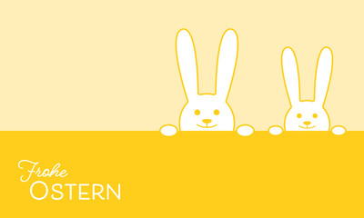 Grußkarte zum Osterfest - niedliche Hasen (in Gelb)