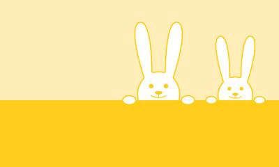 Grußkarte zum Osterfest - niedliche Hasen (Gelb)