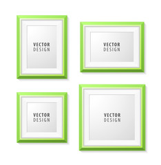 Realistic Minimal Isolated Green Frame on White Background for Presentations . Vector Elements