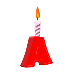 Letter A birthday font. Letter and candle. anniversary alphabet sign. Celebratory ABC