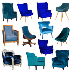 Set collage of different blue chair