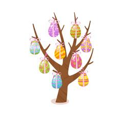 Eggs tree. Easter traditional element. Religious holidays symbols isolated on white background.