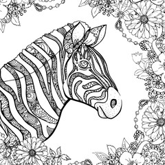 hand drawn ink doodle zebra and flowers on white background. design for adults, poster, print, t-shirt, invitation, banners, flyers. sketch. vector eps 8.
