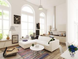 Kitchen and living room design. 3d illustration