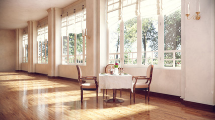 Round table and chairs in conference room interior with wooden floor, blank wall and window with city view. 3d illustration