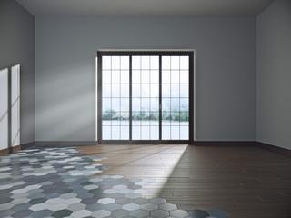 Empty dark room with large window. 3d illustration