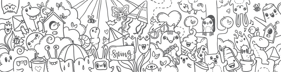 Spring hand drawn doodles banner. cartoon spring.  black-and-white doodles winter hand-drawn contour on a white background for children coloring